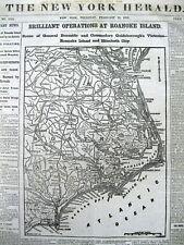 <1862 Civil War newspaper with MAP Union CAPTURE  ROANOKE ISLAND North Carolina