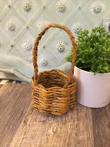 """Basket made of recycled newspaper. 7 1/2 """" High 4 Inch Diameter Bohemian Natural"""