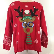 NWT United States Sweaters Christmas Sweater Reindeer Sequins Bells 2XL