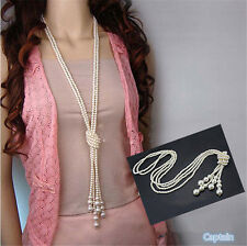 New Fashion White Artificial Pearls Long Chain Charms Sweater Necklace