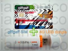 HSPA+/4G Unlocked USB dongle + UK PAYG giffgaff Triple SIM + Free Postage + £5