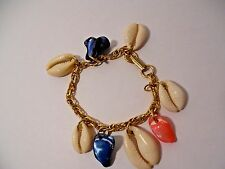 "Gold plated (Nice for the Beach!) Vintage Seashell Bracelet Handmade 6 1/2"""