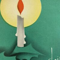 Vintage Early Mid Century Christmas Greeting Card Green Art Deco Candle Gold