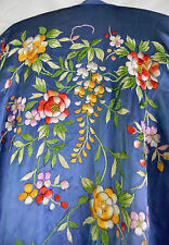 Vintage Chinese Japanese Silk Kimono Robe w Extensive Embroidery Floral Flower