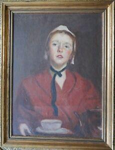 Portrait , Junges Mädchen mit Tasse, signiert und datiert 1924