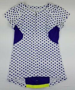 LULULEMON Cycling Jersey Women's Size 12 1/2 Zip Top Purple/White Polka Dots B4