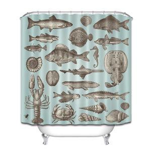 Grey Fish Shell Seafood Shower Curtain Liner Waterproof Fabric Bathroom Hooks