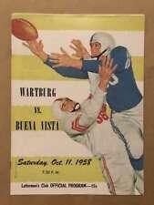 Wartburg (IA) Buena Vista (IA) COLLEGE FOOTBALL PROGRAM - 1958 - EX