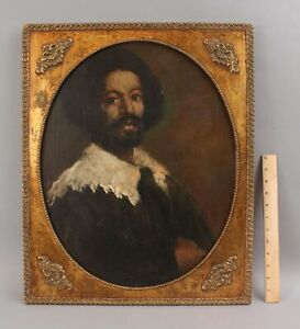 Antique Portrait Oil Painting Black Freed Slave Juan de Pareja, Diego Velaquez,