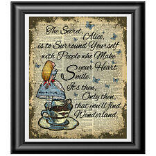 Alice in Wonderland SECRET quote Art Print on Dictionary Book Page, Home Decor