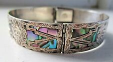 """Sterling Silver & Abalone Shell Mexico Bracelet 7-1/4"""" Long"""