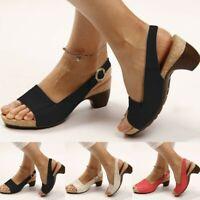 Women's Ladies Thick Heel Sandals Pumps Ankle Buckle Open Toe Party Shoes Size