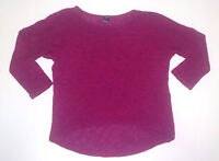 Poof Womens Top Size Small S Hi Lo Pink 3/4 Sleeve Shirt Blouse
