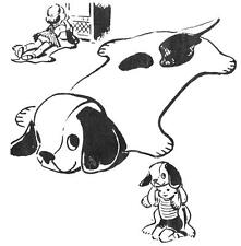 Vintage Puppy Play Rug 1950s PATTERN 2606 Puppy Rug for Children to watch TV on