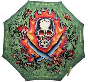 Ed Hardy by Christian Audigier Skull Auto Open Stick Umbrella NEW
