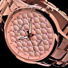 Excellanc Damen Armband Uhr Rose Gold Farben Rosa und Weiße Strass Steine 2