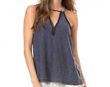 O'Neill Women Daria Blue Halter Sleeveless Blouse Tank Top Shirt Sz Small