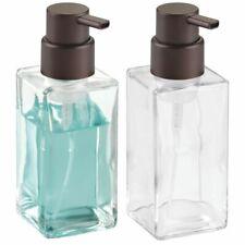 mDesign Glass Refillable Foaming Soap Dispenser Pump, 2 Pack - Clear/Bronze