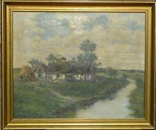 Impressionista W. Halvorsen/paesaggio con fiume Tapis & bauernkate/datato 1924