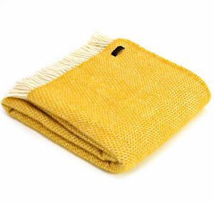 TWEEDMILL TEXTILE 100% Wool Sofa Throw Blanket BEEHIVE YELLOW HONEYCOMB KNEE RUG