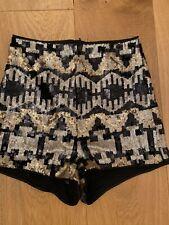 Ladies Sequin Shorts Hot Pants H&M 6 Festival Black Gold