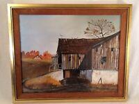 Vintage Signed Joseph Orr Framed Farm Landscape Oil Painting October Barn Retro