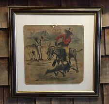 RARE Antique 1800's BAD SEAL CIGARS Black Americana Tobacco Sign Prof Framed
