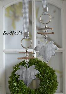 🌷 Fensterdeko Herbst Hänger Ahornblatt Metall 12 cm grau-silber gewischt Perlen