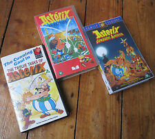 Asterix Animated Cartoon VHS Video Tape PAL x3 Bundle 12 Tasks Britain America