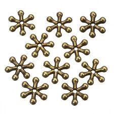 OTTONE Antico FIOCCO DI NEVE DISTANZIATORE METALLO Perline 11mm Confezione da 10 (b109/6)
