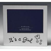 'It's a Girl' Satin silver photo frame-shudehill Giftware