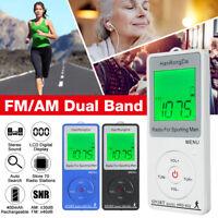 Mini Digital 2 Band FM AM LCD Sport Radio Mini Pocket Receiver Stereo Earphones