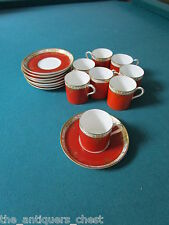 1920's Royal Worcester England 8 coffee cups & saucers for Thomas Goode UK [108]