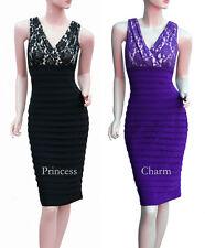 Black Purple Cocktail Bandage Bodycon Dress Lace Plus Size 24 22 20 18 16 14 12