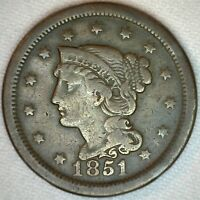 1851 Braided Hair Liberty Head Large Cent US Copper Type 1c One Cent Coin VG K23