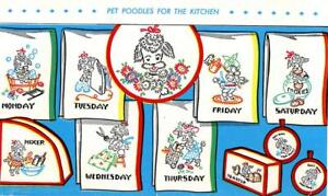 Hand Embroidery Transfer 625 Poodles for Days of the Week dish towels 1950s