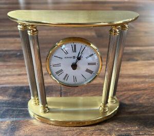 Howard Miller Brass Desktop Table Mantle Clock 645-217 Tested Works