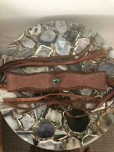 Vintage Boho Gypsy Leather Belt w Stone - Look great with Spell