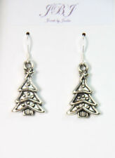 Christmas Tree earrings 1 pair holiday 925 sterling silver hooks Pewter Charms