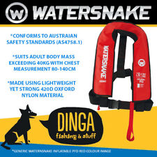 Watersnake Red Inflatable PFD Life Jacket Adult Level 150 Manual