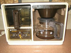 VNTG Black & Decker Under Cabinet SpaceMaker Coffee Maker w Clock Tested Works!
