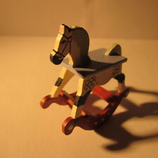 Artisan made doll house miniature wooden hand painted nursery rocking horse 1:12