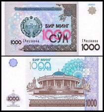Uzbekistan 1000 Sum Som, 2001, P-82, UNC