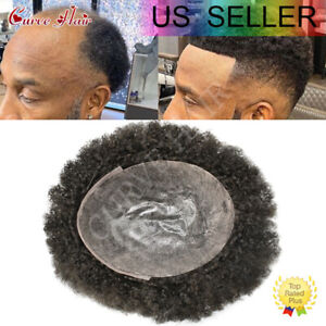 Afro Culy Mens Toupee Full Pu Poly Skin African American Men Replacement Systems