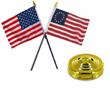 "USA American & Betsy Ross Flag 4""x6"" Desk Set Table Gold Base"