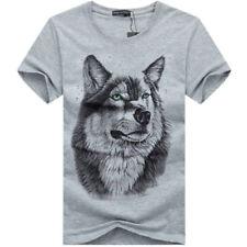 fashion! fashion 3D Handsome casual wolf Men's Shirt T-shirt short sleeve!JUYTG