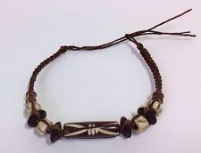 Mens Ethnic Brown Bead String Macrame Bracelet Tribal Womens Surfer Braid