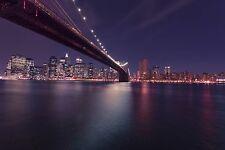 New York City Skyline Manhattan BROOKLYN BRIDGE Glossy 8x10 Photo Poster