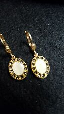 Catherine Popesco ~ Pearl Essence & Black Diamond Swarvoski Crystal Earrings