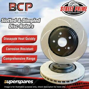 Slotted & Dimpled Pair Front Disc Brake Rotors for Ford Mondeo MD 2.0L 14 - on
